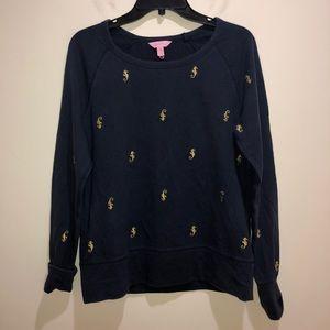 Lilly Pulitzer Size M Blue Sea Horse Sweatshirt